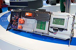 Detail of ford Nickel Metal Hydride car batteries at Paris Motor Show 2010