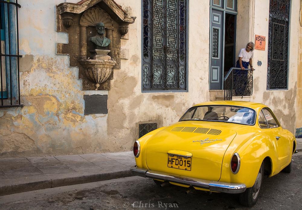 Karmann Ghia outside artist's studio, Havana, Cuba