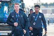 Hearts players Oliver Bozanic and Demetri Michell arrive for the Betfred League Cup semi-final match between Heart of Midlothian FC and Celtic FC at the BT Murrayfield Stadium, Edinburgh, Scotland on 28 October 2018.