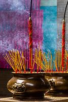 Burning incense, Thien Hau Temple, Chinatown, Ho Chi Minh City (Saigon), Vietnam.