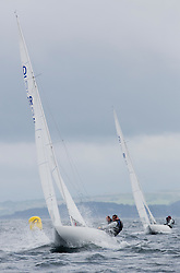 International Dragon Class Edinburgh Cup 2015.<br /> <br /> The first days racing in a strong southerly.<br /> <br /> GBR795, EXCITE, Tom Vernon<br /> <br /> <br /> Credit Marc Turner