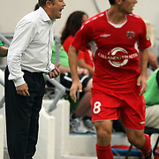 Orlando City Head Coach Adrian Heath screams during a United Soccer League Pro soccer match between the Wilmington Hammerheads and the Orlando City Lions at the Florida Citrus Bowl on June 18, 2011 in Orlando, Florida.  (AP Photo/Alex Menendez)