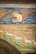 Mosaic of St Luke the Evangelist represnted by a bull. 6th century AD Byzantine Roman Mosaics of the Basilica of Sant'Apollinare in Classe, Ravenna Italy .<br /> <br /> Visit our BYZANTINE MOSAIC PHOTO COLLECTION for more   photos  to download or buy as prints https://funkystock.photoshelter.com/gallery/Byzantine-Eastern-Roman-Style-Mosaics-Pictures-Images/G0000NvKCna.AoH4/3/C0000YpKXiAHnG2k<br /> <br /> If you prefer to buy from our ALAMY PHOTO LIBRARY  Collection visit : https://www.alamy.com/portfolio/paul-williams-funkystock/san-apollinaire-classe-ravenna.html