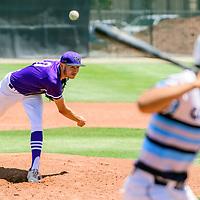 Miyamura Patriot Brandon Vidal (10) pitches to a Goddard Rocket  during the New Mexico high school baseball tournament at St. Pius X High School in Albuquerque Thursday.