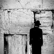 Haredim praying at the Wailing Wall. Jerusalem.