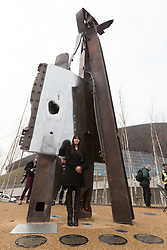 © Licensed to London News Pictures. 17/03/2015. London, UK. Artist, Miya Ando at a special ceremony to unveil her steel sculpture crafted out of the 9/11 Twin Towers' steel wreckage at the Queen Elizabeth Olympic Park in Stratford today. The artwork by American artist, Miya Ando commemorates the 10th anniversary of the 9/11 attacks and stands at 28 feet tall and weighs over 4 tons. Photo credit : Vickie Flores/LNP