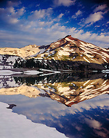 Morning light on South Sister from Green Lakes, Three Sisters Wilderness Oregon USA