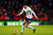Son Heung-min of Tottenham Hotspur in action. Premier league match, Tottenham Hotspur v Brighton & Hove Albion at Wembley Stadium in London on Wednesday 13th December 2017.<br /> pic by Steffan Bowen, Andrew Orchard sports photography.