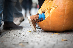 28 October 2017, Prague, Czech Republic: Halloween stunt decorates a street in Prague Old Town.