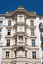 Ornate historical architecture of facade of apartment building in Prenzlauer Berg in Berlin Germany