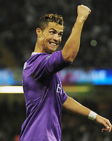Football - 2017 UEFA Champions League Final - Juventus vs. Real Madrid<br /> <br /> Christiano Ronaldo of Real Madrid celebrates scoring his first half goal, at the Principality [Millennium] Stadium.<br /> <br /> COLORSPORT/ANDREW COWIE