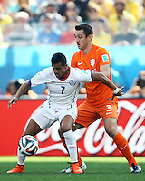 Fifa Soccer World Cup - Brazil 2014 - <br /> NETHERLANDS (NED) Vs. CHILE (CHI) - Group B - Arena Sao Paulo .<br /> Sao Paulo Brazil (BRA) - June 23, 2014 <br /> Here Chile player Alexis SANCHEZ (L) and Holland player Stefan DE VRIJ (R)<br /> © PikoPress