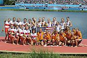 Eton Dorney, Windsor, Great Britain,..2012 London Olympic Regatta, Dorney Lake. Eton Rowing Centre, Berkshire[ Rowing]...Description;   USA W8+ Gold Medalist. .Erin CAFARO (b) , Zsuzsanna FRANCIA (2) , Esther LOFGREN (3) , Taylor RITZEL (4) , Meghan MUSNICKI (5) , Eleanor LOGAN (6) , Caroline LIND (7) , Caryn DAVIES (s) , Mary WHIPPLE (c)..Silver Medalist CAN W8+.  Janine HANSON (b) , Rachelle VIINBERG (2) , Krista GULOIEN (3) , Lauren WILKINSON (4) , Natalie MASTRACCI (5) , Ashley BRZOZOWICZ (6) , Darcy MARQUARDT (7) , Andreanne MORIN (s) , Lesley THOMPSON - WILLIE (c).Bronze Medalist NED W8+. Jacobine VEENHOVEN (b) , Nienke KINGMA (2) , Chantal ACHTERBERG (3) , Sytske DE GROOT (4) , Roline REPELAER VAN DRIEL (5) , Claudia BELDERBOS (6) , Carline BOUW (7) , Annemiek de HAAN (s) , Anne SCHELLEKENS (c)..Dorney Lake. 13:14:28  Thursday  02/08/2012.  [Mandatory Credit: Peter Spurrier/Intersport Images]...Venue, Rowing, 2012 London Olympic Regatta...