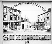 Old vintage photograph of Market Place, Halesworth, Suffolk, England UK