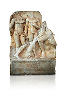 Roman Sebasteion relief  sculpture of  Three Heroes and a Dog Aphrodisias Museum, Aphrodisias, Turkey.    Against a white background.<br /> <br /> Two heroes stand in front of a third hero who ia seated on a rock and pats the head of a bitch hound. They are hunters and the relief is partnered by the reliefs of Melager and Atalante and Meleaner and boar .<br /> <br /> If you prefer to buy from our ALAMY STOCK LIBRARY page at https://www.alamy.com/portfolio/paul-williams-funkystock/greco-roman-sculptures.html . Type -    Aphrodisias     - into LOWER SEARCH WITHIN GALLERY box - Refine search by adding a subject, place, background colour, museum etc.<br /> <br /> Visit our ROMAN WORLD PHOTO COLLECTIONS for more photos to download or buy as wall art prints https://funkystock.photoshelter.com/gallery-collection/The-Romans-Art-Artefacts-Antiquities-Historic-Sites-Pictures-Images/C0000r2uLJJo9_s0