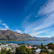 Elevated view of Lake Wanaka and Wanaka Town with blue sky