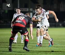 Ulster Rugby's Alan O'Connor lines up Dragons' Sam Hobbs<br /> <br /> Photographer Simon King/Replay Images<br /> <br /> Guinness Pro14 Round 10 - Dragons v Ulster - Friday 1st December 2017 - Rodney Parade - Newport<br /> <br /> World Copyright © 2017 Replay Images. All rights reserved. info@replayimages.co.uk - www.replayimages.co.uk