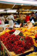 bunches of red chilis - Rialto vegetable market - Venice Italy