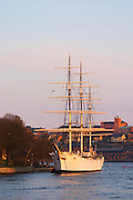 The Af Chapman three masted former school tall ship, now anchored off Skeppsholmen and functioning as a youth hostel. Stockholm. Sweden, Europe.