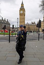 © Licensed to London News Pictures. 22/03/2017. London, UK. Armed Police at the scene of suspected terrorist attack near Houses of Parliament in Westminster, London. Photo credit: Ben Cawthra/LNP