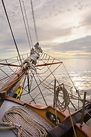 Bowsprit of Hawaiian Chieftain, a Square Topsail Ketch. Owned and operated by the Grays Harbor Historical Seaport, Aberdeen, Washington
