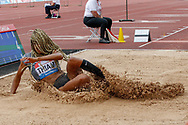Nafissafou Thiam (Belgium), Winner of the Women's Long Jump, during the Muller Grand Prix at the Alexander Stadium, Birmingham, United Kingdom on 18 August 2019.