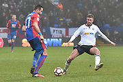 Crystal Palace Defender, Damien Delaney (27) ansd Bolton Wanderers Midfielder, Josh Vela (6) during the The FA Cup 3rd round match between Bolton Wanderers and Crystal Palace at the Macron Stadium, Bolton, England on 7 January 2017. Photo by Mark Pollitt.