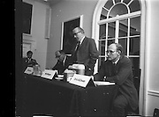 17/07/1970<br /> 07/17/1970<br /> 17 July 1970<br /> I.C.I. Press Conference regarding Paraquat weedkiller at the Royal Hibernian Hotel, Dublin. The conference was part of a campaign, in consultation with the Department of Health, to warn the public of the dangers of decanting the weedkiller into other containers such as unlabelled bottles. This had been the cause of a number of deaths over the previous 8 years as people mistook the chemical for beer, whiskey or cordial. The company planned to write to all 267,000 farmers in the Republic to warn of the dangers of the practice. Image shows Mr Stanley Magee (centre) Manager Agro-chemicals Division, I.C.I (Ireland) Ltd. speaking at the event. Also in the picture are Dr. W.R. Boon (left) Joint Managing Director, Plant Protection Ltd. and Dr. A.A. Swan, Director, I.C.I. Industrial Hygiene Laboratories.