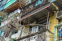 YANGON, MYANMAR - CIRCA DECEMBER 2013: View of electric post in the streets of Yangon