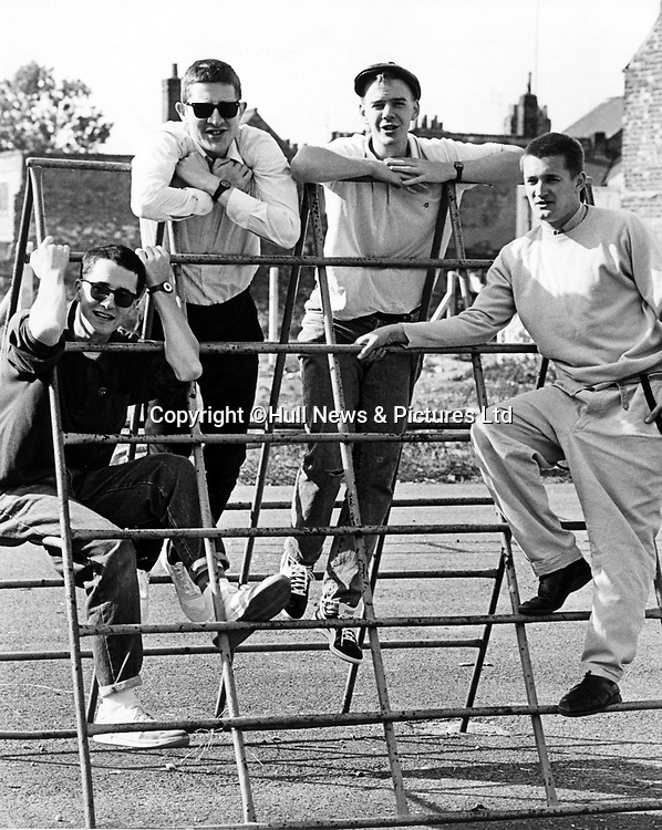 16 December 1986: The Housemartins before performing at The Adelphi, Hull (l-r) Stan Cullimore, Hugh Whittaker, Norman Cook (aka Fatboy Slim) and Paul Heaton.<br /> Picture: Sean Spencer/Hull News & Pictures Ltd<br /> 01482 772651/07976 433960<br /> www.hullnews.co.uk   sean@hullnews.co.uk