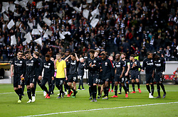 Eintracht Frankfurt players on the pitch at the end of the UEFA Europa League Semi final, first leg match at The Frankfurt Stadion, Frankfurt.