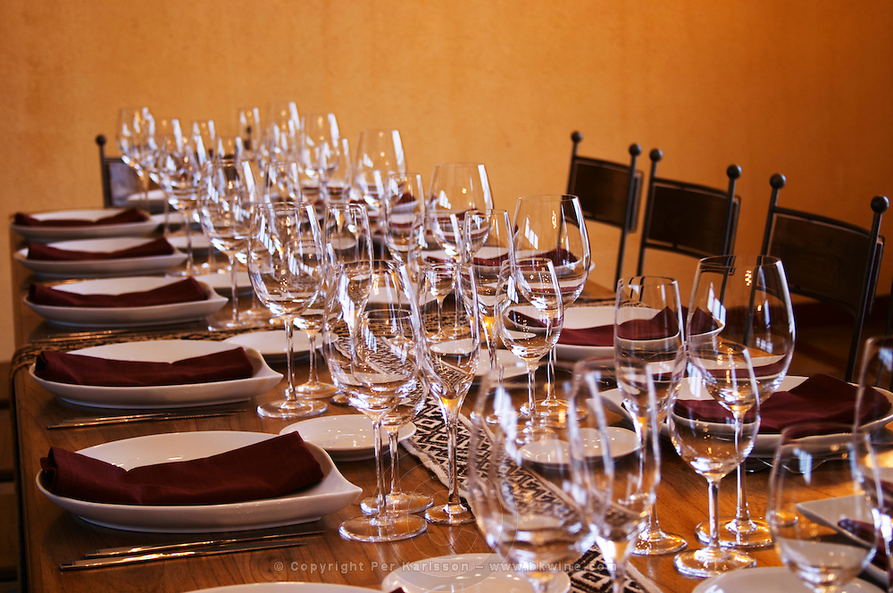 table set for lunch with plenty of wine tasting glasses Bodega Del Anelo Winery, also called Finca Roja, Anelo Region, Neuquen, Patagonia, Argentina, South America