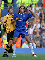 Hernan Crespo (Chelsea's new signing) after coming on to make his debut as a substitute.Vratislav Gresko (left). Chelsea v Blackburn Rovers. 30/8/03. Credit : Colorsport/Andrew Cowie.