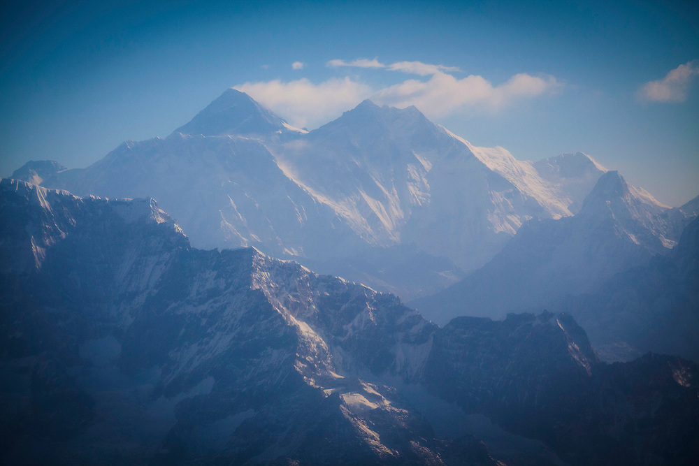 Aerial view of  Mount Everest, earth's highest mountain above sea level, in the Himalayas, Nepal