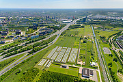 Nederland, Utrecht, Nieuwegein, 13-05-2019; Solarpark Galecop in de groenstrook aan de Galecopperzoom, parallel aan de A12 bij Oudenrijn.<br /> Solar park near highway A12, south of Utrecht.<br /> <br /> luchtfoto (toeslag op standard tarieven);<br /> aerial photo (additional fee required);<br /> copyright foto/photo Siebe Swart