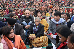 Delhi Chief Minister Sheila Dikshit (C) sits with protestors in a silent march demanding justice for the 23-year-old gang-raped victim at Rajghat in New Delhi, India, January 2, 2013. Photo by Imago / i-Images...UK ONLY