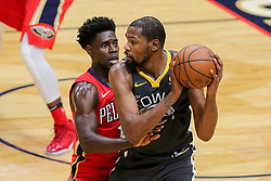 May 6, 2018 - New Orleans, LA, U.S. - NEW ORLEANS, LA - MAY 06:  Golden State Warriors forward Kevin Durant (35) looks to pass the ball against New Orleans Pelicans guard Jrue Holiday (11) during game 4 of the NBA Western Conference Semifinals at Smoothie King Center in New Orleans, LA on May 06, 2018.  (Photo by Stephen Lew/Icon Sportswire) (Credit Image: © Stephen Lew/Icon SMI via ZUMA Press)
