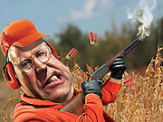 """Caricature: Dick Cheney accidentally shoots his hunting buddy while hunting quail.  Photoshop for Melcher Media included in a handcrafted pop up gift book that is a satirical celebration of 10 celebrities gone wild. See video: click """"The Pop Up Book of Celebrity Meltdowns"""" in list on the left."""