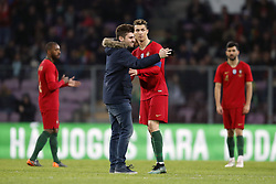 fan makes selfie with Cristiano Ronaldo of Portugal during the International friendly match match between Portugal and The Netherlands at Stade de Genève on March 26, 2018 in Geneva, Switzerland