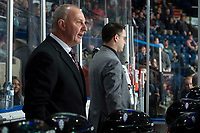 KELOWNA, BC - FEBRUARY 15: Red Deer Rebels head coach Brent Sutter stands on the bench against the Kelowna Rockets at Prospera Place on February 15, 2020 in Kelowna, Canada. (Photo by Marissa Baecker/Shoot the Breeze)