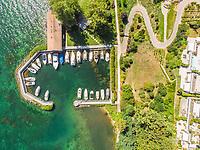Aerial view of small harbour on lake Geneva, Saint Prex, Switzerland.