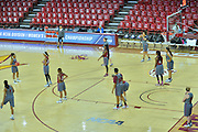 March 17, 2016: The New Mexico State Aggies run drills during the first practice day of the 2016 NCAA Division I Women's Basketball Championship first round in Tempe, Ariz.