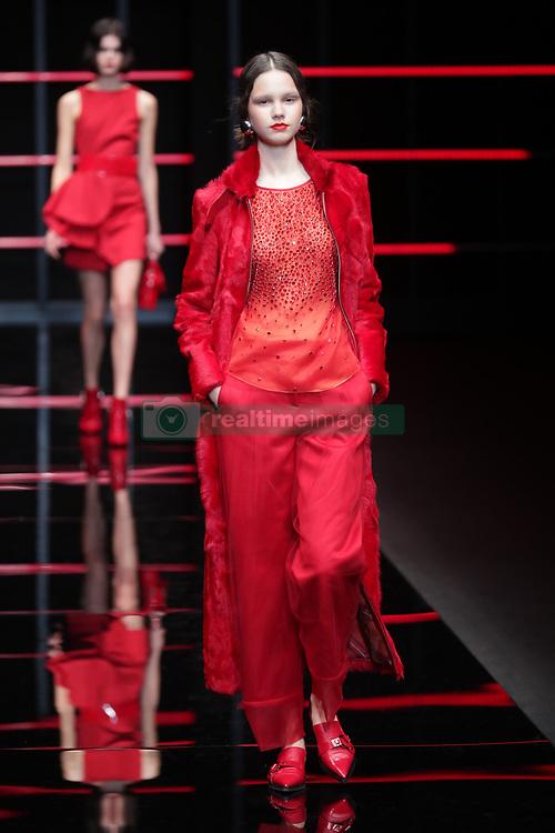 February 21, 2019 - Milan, Italy - Emporio Armani Fashion Show MFW Fashion Show  MFW Womens Fall Winter 2019 - 2020 Fashion show. (Credit Image: © Canio Romaniello/Soevermedia via ZUMA Press)