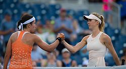 September 2, 2018 - Anastasija Sevastova of Latvia & Elina Svitolina of the Ukraine at the net after their fourth-round match at the 2018 US Open Grand Slam tennis tournament. New York, USA. September 02th, 2018. (Credit Image: © AFP7 via ZUMA Wire)