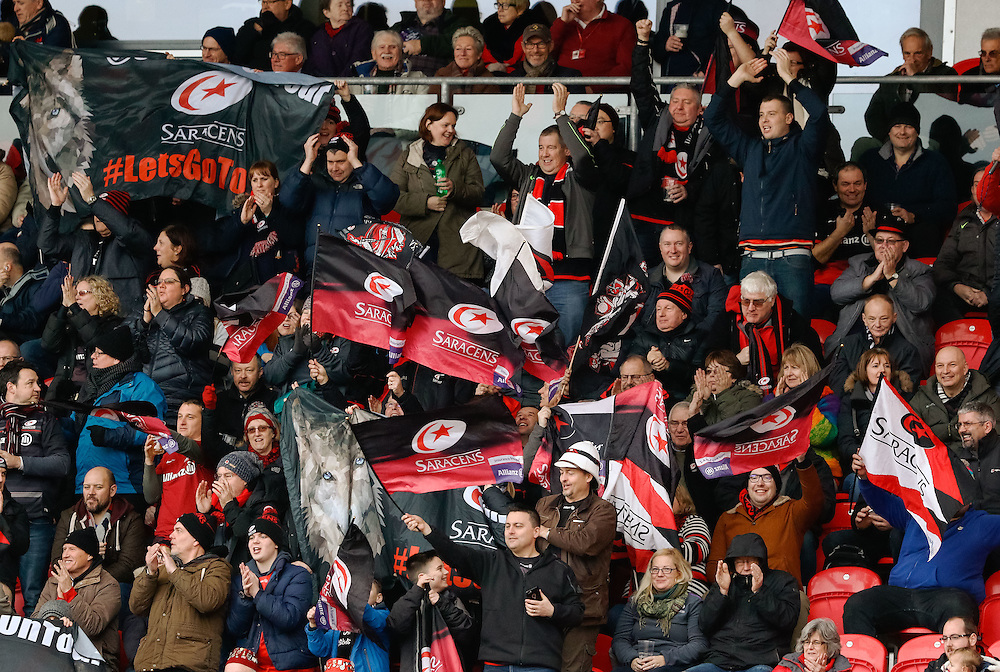 Saracens fans celebrates their sides first try<br /> <br /> Photographer Simon King/CameraSport<br /> <br /> European Rugby Champions Cup Pool 3 - Scarlets v Saracens - Sunday 15th January 2017 - Parc y Scarlets - Llanelli <br /> <br /> World Copyright © 2017 CameraSport. All rights reserved. 43 Linden Ave. Countesthorpe. Leicester. England. LE8 5PG - Tel: +44 (0) 116 277 4147 - admin@camerasport.com - www.camerasport.com