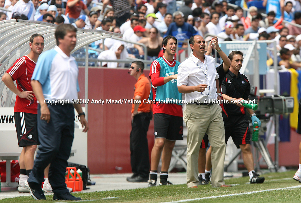 16 June 2007: Canada head coach Stephen Hart (r). The Canada Men's National team defeated the Guatemala Men's National Team 3-0 at Gillette Stadium in Foxboro, Massachusetts in a 2007 CONCACAF Gold Cup quarterfinal.