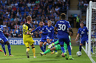 Tom Naylor of Burton Albion (15) scores his teams 1st goal. Carabao Cup 2nd round match, Cardiff city v Burton Albion at the Cardiff City Stadium in Cardiff, South Wales on Tuesday 22nd August  2017.<br /> pic by Andrew Orchard, Andrew Orchard sports photography.