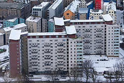 View of high-rise apartment block at Dumbiedykes in Edinburgh, Scotland, UK