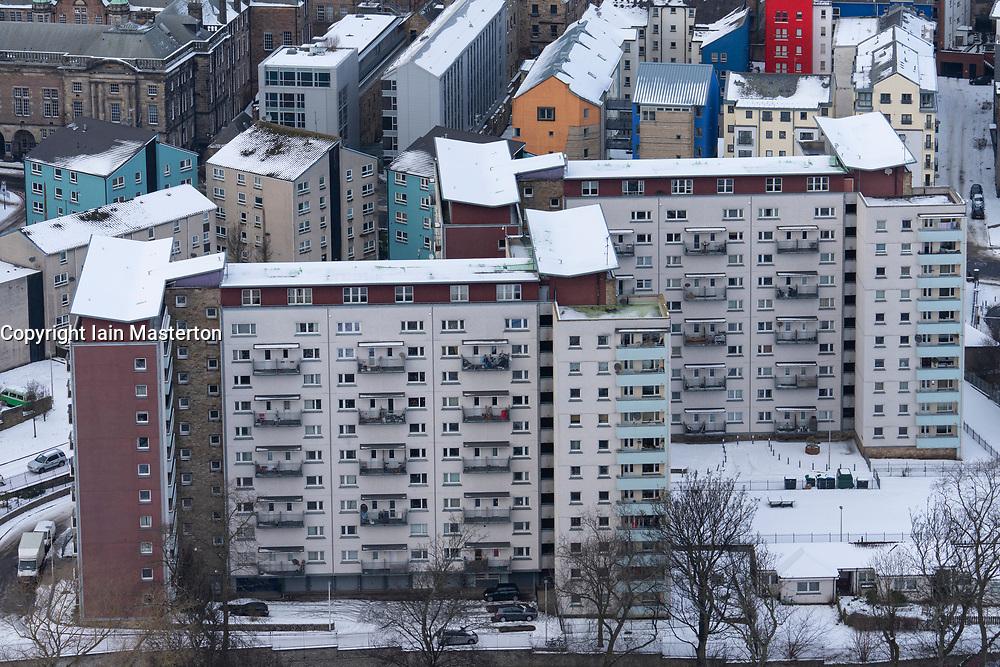 View of high-rise apartment block at Dumbiedykes in Edinburgh, Scotland, UK