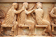Treasury of Siphnos East Frieze representing scenes from the Trojan War. 525 b.C. .From Left: Aris, Afrodite, Artemis. Delphi Archaeological Museum. .<br /> <br /> If you prefer to buy from our ALAMY PHOTO LIBRARY  Collection visit : https://www.alamy.com/portfolio/paul-williams-funkystock/delphi-site-greece.html  to refine search type subject etc into the LOWER SEARCH WITHIN GALLERY.<br /> <br /> Visit our ANCIENT GREEKS PHOTO COLLECTIONS for more photos to download or buy as wall art prints https://funkystock.photoshelter.com/gallery-collection/Ancient-Greeks-Art-Artefacts-Antiquities-Historic-Sites/C00004CnMmq_Xllw